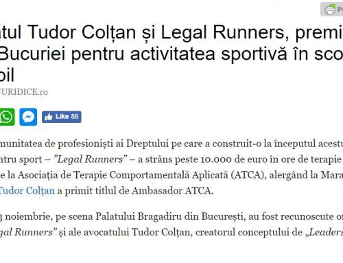 Avocatul Tudor Colțan și Legal Runners, premiați la Balul Bucuriei pentru activitatea sportivă în scop caritabil