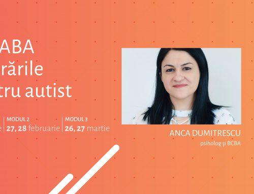 """Curs """"Tehnici ABA în tulburările de spectru autist"""" – Bucuresti, ianuarie 2020"""